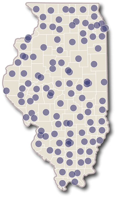 Map of Illinois, showing Extension locations in nearly every county