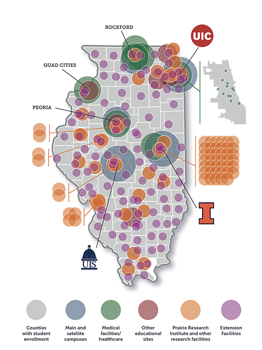 Map of the state of Illinois showing the U of I presence