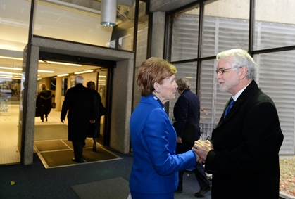 UIS Chancellor Koch greets President-elect Killeen to the Springfield campus.