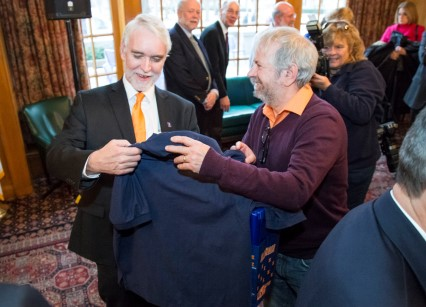 President-elect Killeen receives a shirt.